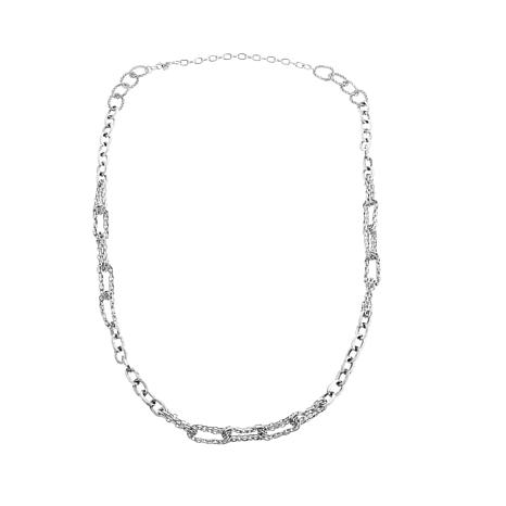 """Touch of Cyn Chain-Link 2-Tone 52"""" Station Necklace"""