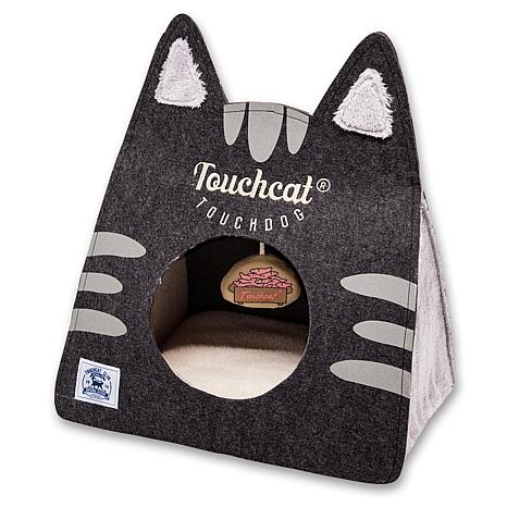 Touchcat Kitty Ears Collapsible Travel Cat Bed House with Toy