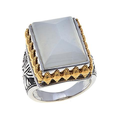 Traveler's Journey 2-Tone Rectangular Moonstone Ring