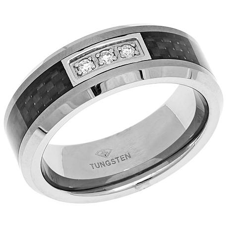 Men S Tungsten And Carbon Fiber Diamond Accented 8mm Wedding Band
