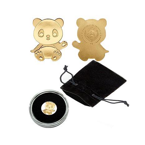 Uncir. LE 15,000 Panda .999 Gold $1 Palau Coin
