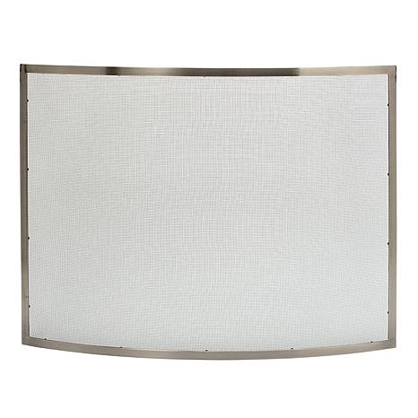 Uniflame Curved Pewter Single-Panel Fireplace Screen