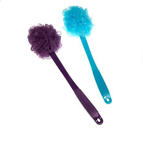 Upper Canada Long-Handled Bath Pouf 2pk - Purple & Blue