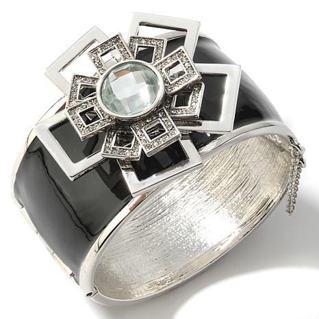 "VALESKA® ""Royal Roulette"" Black Enamel & Stone Bracelet"