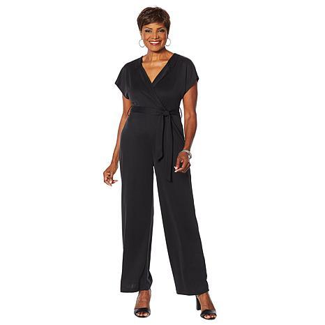 Vanessa Williams Comfort Zone Knit Belted Cap-Sleeve Jumpsuit