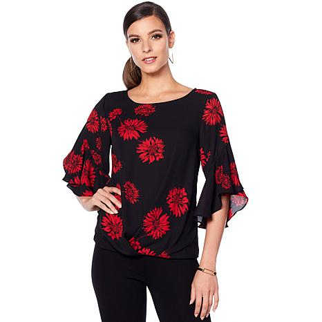 Vince Camuto Floral Gathered Blouse