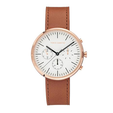 Vince Camuto Men's Multi-Function Dial Tan Leather Strap Watch