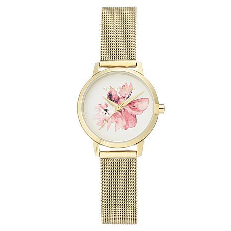 Vince Camuto Women's Goldtone Flower Dial Mesh Bracelet Watch