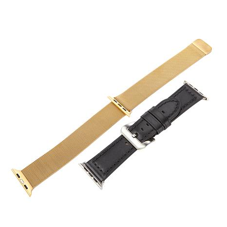 Vogue Strap Leather & Stainless-Steel Band 2-pack for 42mm Apple Watch