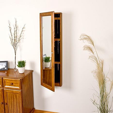 Wall-Mount Jewelry Mirror - Oak - 6221940 | HSN