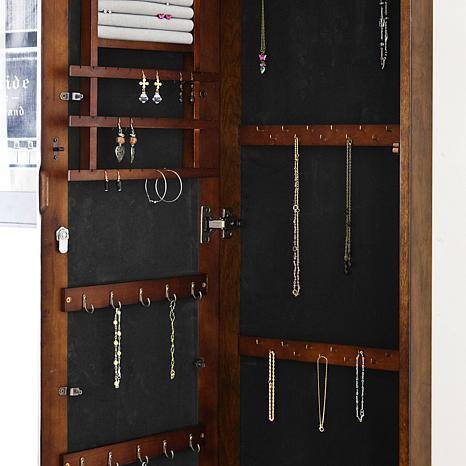 Wall Mount Jewelry Mirror wall-mount jewelry mirror - warm brown walnut - 6221941   hsn