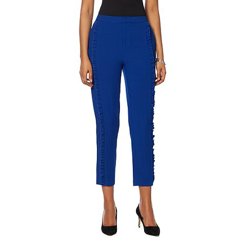 Wendy Williams Crepe Ruffle-Front Pant