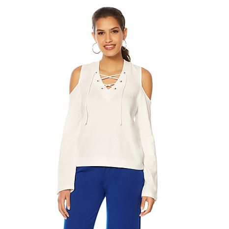 Wendy Williams French Terry Lace-Up Cold-Shoulder Sweatshirt