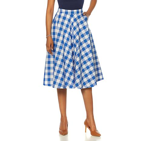 ed0e55dbaf25 Wendy Williams Gingham Cotton Circle Skirt with Pockets - 8648817