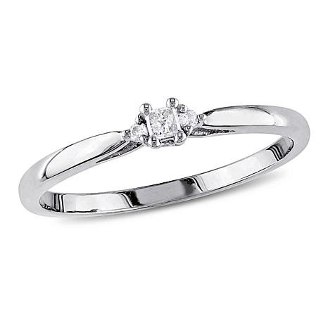 White Diamond-Accented 10K White Gold Engagement Ring