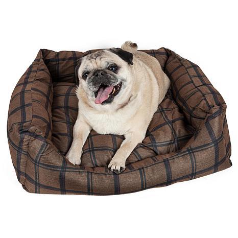 Wick-Away Plaid Rectangular Dog Bed - X-Small