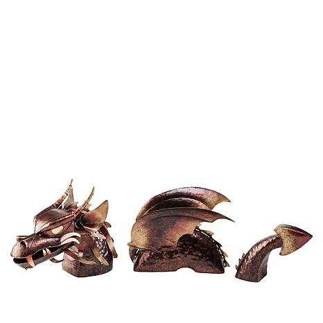 Wind and Weather 3-Piece Metal Dragon Lawn Sculpture