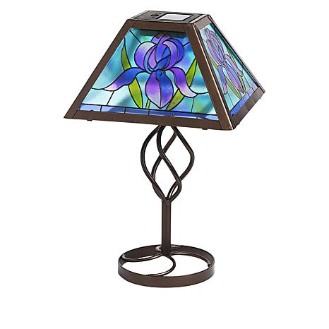 Wind and Weather Iris Solar Tiffany-Style Table Lamp