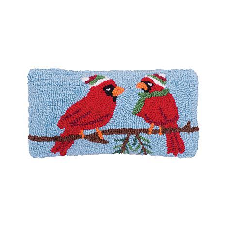 Winter Cardinal Hooked Pillow