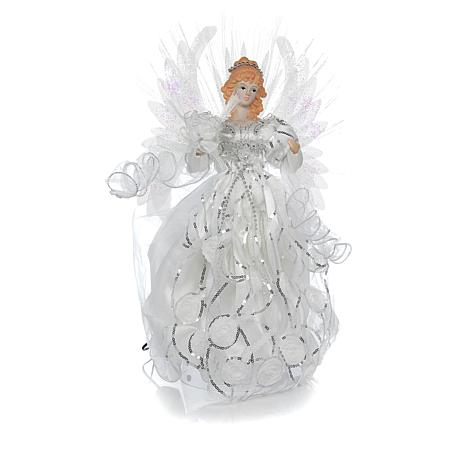 Black Angel Christmas Tree Topper.Exclusive Winter Lane 19 White Led Angel Tree Topper