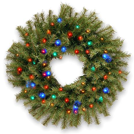 winter lane 24 norwood fir wreath with battery operated multicolor led lights
