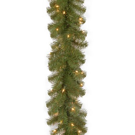 Winter Lane 9 North Valley Spruce Garland With Battery Operated Dual Color Led Lights