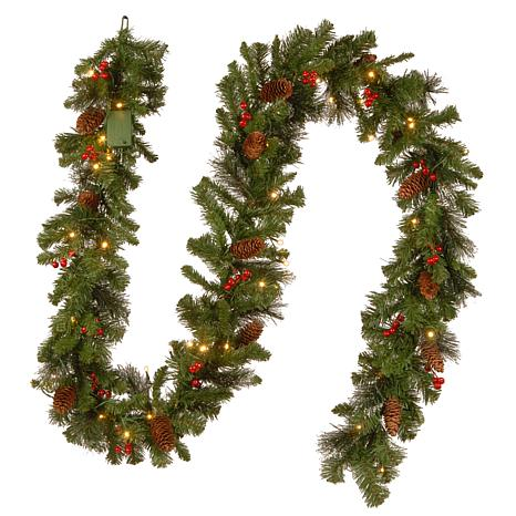 winter lane 9 crestwood spruce garland with battery operated soft white led lights