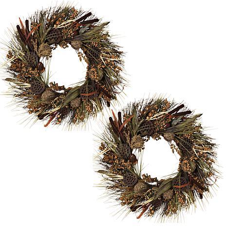 "Winter Lane Set of 2 30"" Woodland Wreaths"