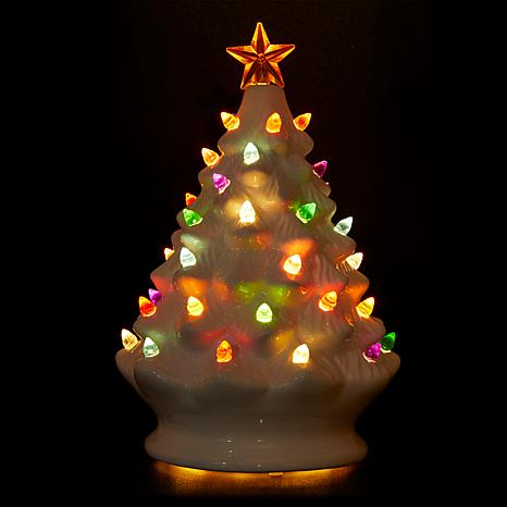 winter lane set of 2 lighted musical ceramic christmas trees 8654421 hsn
