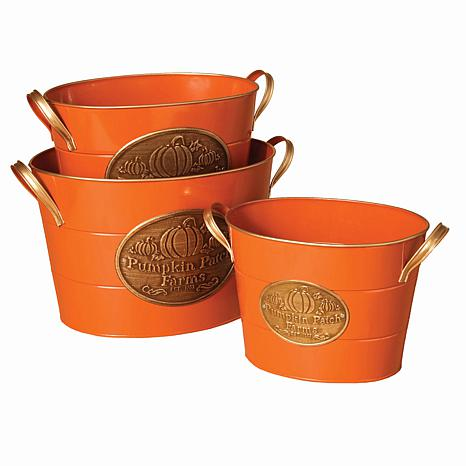 Winter Lane Set of 3 Nested Orange Metal Buckets