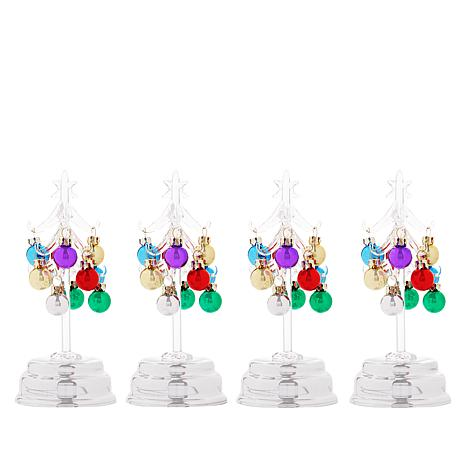 Winter Lane Set of 4 LED Glass Trees with Ornaments