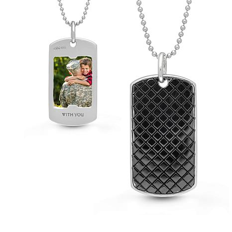 "With You Lockets™ Sterling Silver ""Walter"" Black Dog Tag Photo Pendant"