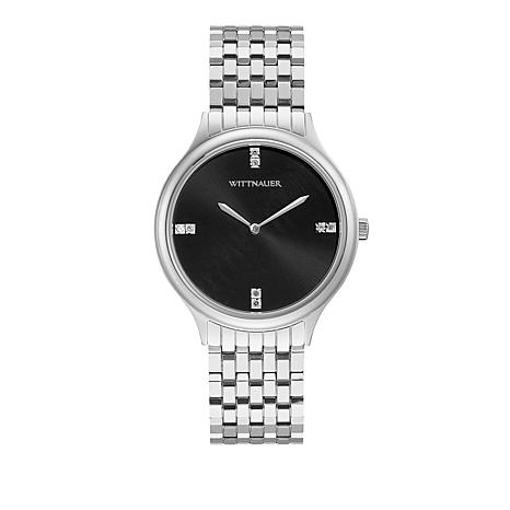 "Wittnauer ""Black Tie"" Diamond Marker Silvertone Stainless Steel Watch"