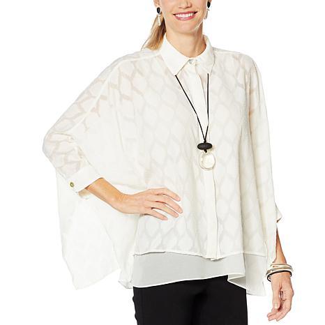 WynneLayers Button Front Unstructured Shirt