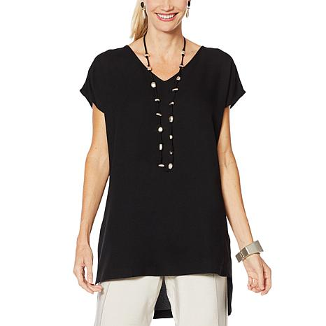 WynneLayers High-Low Crepe Blouse
