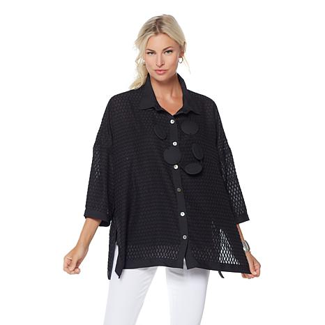 WynneLayers Novelty Jacquard Burnout Blouse