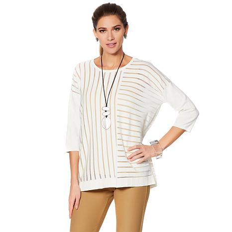 WynneLayers Unstructured Mixed Sheer Stripe Sweater