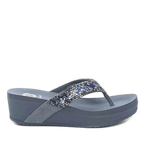 Yellow Box Everly Leather Embellished Thong Sandal