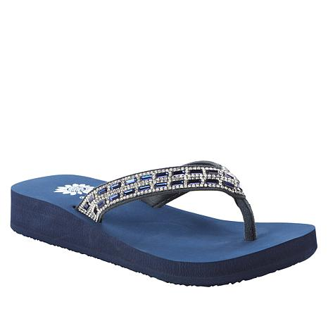 Yellow Box® Javalari Leather Embellished Thong Sandal