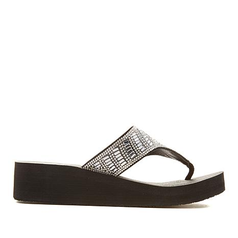 Yellow Box Tomei Leather Embellished Thong Sandal