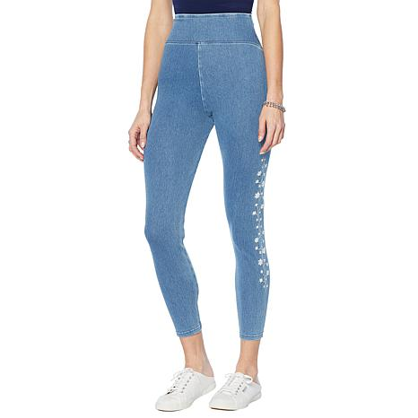 Yummie Denim Jegging with Embroidered Detail