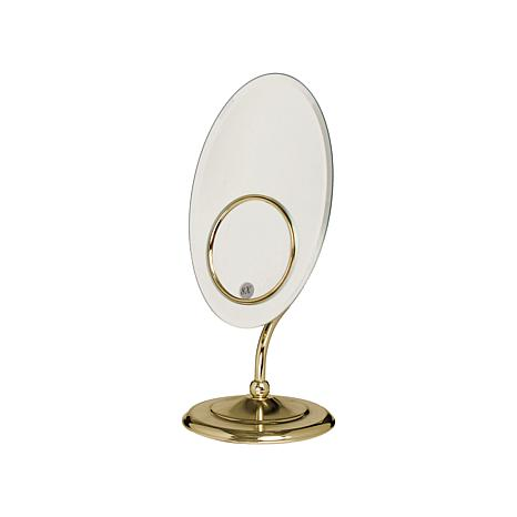 Zadro Oval Tri-Optics™ Beveled Pedestal Mirror - Brass