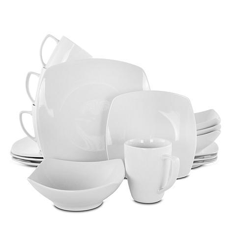 Zen Buffetware 16-piece Square Dinnerware Set - White