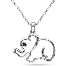 .015ctw Black Diamond Elephant Pendant with Chain
