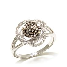 0.32ctw Colored and White Diamond Sterling Silver Ring