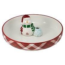 10 Strawberry Street Tidbit Serve Platter w/ Snowman Toothpick Holder