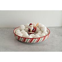 10 Strawberry Street Tidbit Serve Platter with Santa Toothpick Holder