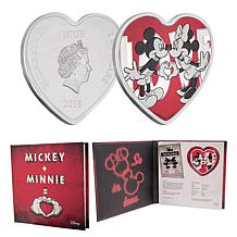 2018 Mickey & Minnie Ticket to My Heart Niue $2 Silver Heart-Shaped...