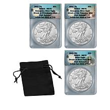 2021 MS70 ANACS LE 710 P-, S- & W-Mint First Release Silver Eagle Set