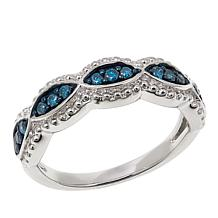 .25ctw Blue Diamond Sterling Silver Braided Band Ring
